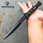 USMC Colossal Blackout Stiletto - Large Assisted Opening Pocket Knife - Officially Licensed