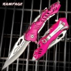 Rampage Pink Atomica Assisted Opening Pocket Knife - Stainless Steel Blade, Aluminum Handle, Bottle Opener, Pocket Clip - Closed 4 3/4""