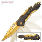 Rampage Gold Atomica Assisted Opening Pocket Knife - Stainless Steel Blade, Aluminum Handle, Bottle Opener, Pocket Clip - Closed 4 3/4""