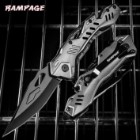 Rampage Grey Atomica Assisted Opening Pocket Knife - Stainless Steel Blade, Aluminum Handle, Bottle Opener, Pocket Clip - Closed 4 3/4""