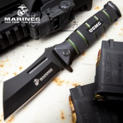 USMC Combat Cleaver Assisted Opening Pocket Knife - Stainless Steel Blade, Textured Aluminum Handle, Pocket Clip