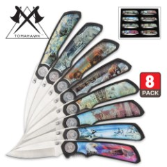 Trophy Master Eight Piece Wildlife Folding Pocket Knife Collection