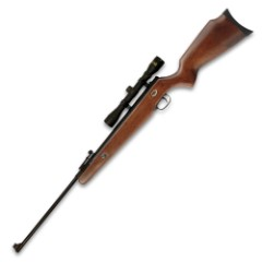 """Teton .22 Caliber Spring-Powered Air Rifle With 4X32 Scope – Wooden Break Barrel, Two-Stage Adjustable Trigger, 830 FPS, Pellets – Length 45 1/2"""""""