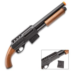 Double Eagle Sawed Off Spring Pump Airsoft Shotgun - Aluminum Barrel, Pistol Grip, Faux Wood Handle, Adjustable Hop-Up