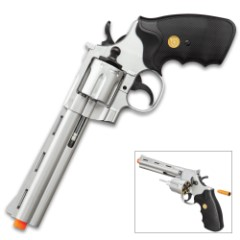 UKArms .357 Magnum Silver Revolver Airsoft Pistol – Spring Powered, Plastic Body Construction, Realistic Revolver Cylinder – Length 11 1/2""