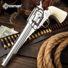 Remington 1875 CO2 Powered Replica Air Revolver - All-Metal, Nickel-Plated, Dual Ammo, Faux Ivory Grips, Single-Action