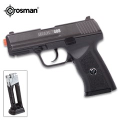 Insanity GBB CO2 Powered Blowback Air Pistol – Nylon Fiber Stock, Steel Barrel, Accessory Rail, 12-Round Magazine