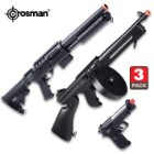 Crosman Game Face Triple Threat Air Soft Gun Kit – Includes Submachine Gun, Voodoo Shotgun, Recon Pistol – Metal Alloy And Synthetic, Spring and Battery Powered