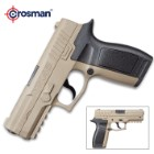 Crosman MK45 CO2 Powered Air Pistol - Steel Barrel, Synthetic Body, Removable Grip, Drop-Out Magazine, Picatinny Rail