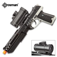 Crosman Ghost Mayhem Spring Powered Pistol With Red Dot Scope - Synthetic Grip, Tactical Muzzle Break, 12-Round Magazine