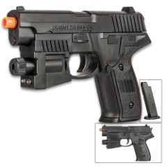 UKArms Spring Powered Airsoft Pistol With Laser - Tough ABS Construction, 120 FPS, 15-Round Magazine - Length 6""