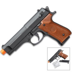 UKArms G22M Spring Powered Airsoft Pistol - Metal Alloy Construction, ABS Grips, 245 FPS, Single Shot, 8-Round Magazine