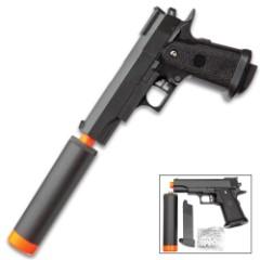 UKArms M1911 Hi Capa Spring Powered Airsoft Pistol - Metal Construction, 10-Round Magazine, Mock Suppressor, 200 FPS