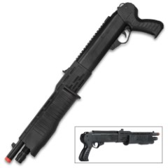 Pump-Action Franchi Spring Airsoft Shotgun - Featherweight Polymer Construction, Sawed-Off Stock, Integrated Sights - Length 22 3/4""