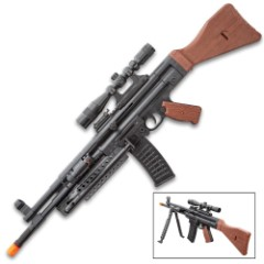 UKArms MP44 Spring Powered Rifle With Bipod, Laser And Scope - ABS And Faux Wood Construction, 280 FPS, 200- Round Magazine - Length 28""