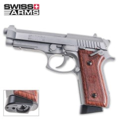 Swiss Arms 92 Silver With Faux Wood Grips And Blowback