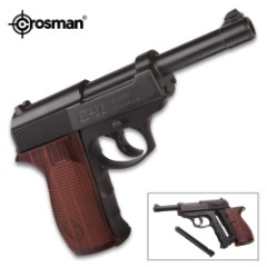 Crosman Semi-Automatic CO2 Powered BB Pistol – Metal Alloy Barrel, Hardwood Stock, 18-Round Magazine, Rear And Front Sights