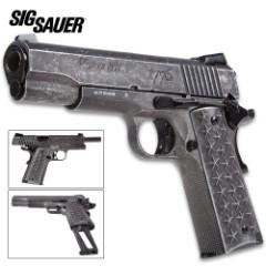 "Sig Sauer 1911 We The People BB Pistol - Metal Construction, Custom Patriotic Grips, 340 FPS, 17-Round Magazine - Length 8 1/2"""