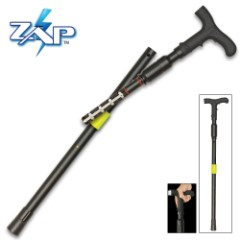 Zap Covert Cane With Flashlight And Stun Gun - LED Light, One Million Volts, Adjustable Height, Supports Up To 400 lbs
