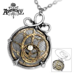 Working Astrolabe Necklace Of English Pewter And Brass Inlay