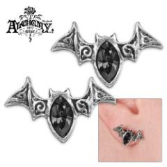 Mystic Bat Black Crystal Earrings