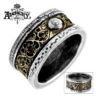 Dr. Von Rosenstein English Pewter And Etched Brass Inlay Ring