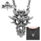 Pewter Dragon Skull Necklace