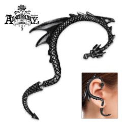 Black Dragon Lure English Pewter Ear Wrap