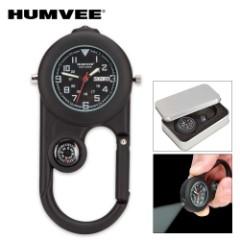 Humvee Explorer Clip Watch / Compass / Flashlight - Black