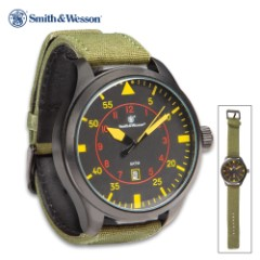 Smith & Wesson Black NATO Watch - Stainless Steel Case Back, Canvas And Faux Leather Strap, Water-Resistant, Quartz Movement