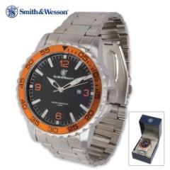 Smith & Wesson Agent Neptune UDT Dive Watch - Stainless Steel Link Bracelet - Orange Bezel