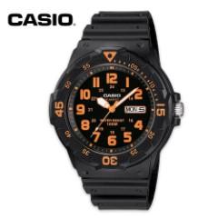 Casio Analog Military Field Watch, Black and Orange