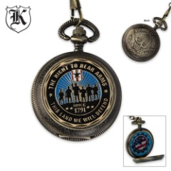 Second Amendment Defender Of Liberty Pocket Watch With Chain