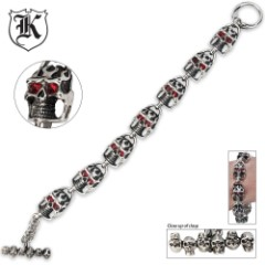 Ruby Red Eyed Skull Bracelet With Toggle Clasp
