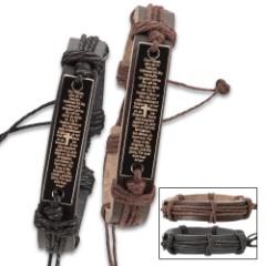 Cross Leather Bracelets Brown/Black - 2-Piece Set