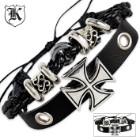 2PC Black Leather Bracelet