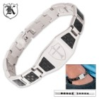 Stainless Steel Armor of God Black Carbon Fiber Bracelet