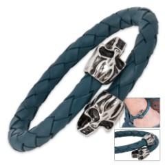 Skull Leather And Titanium Bracelet
