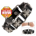Cow Leather And Alloy Cross Bracelet - BOGO