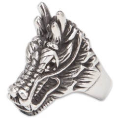 Stainless Steel Chinese Dragon Ring