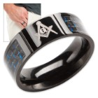 Masonic Blue Carbon Fiber Ring