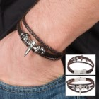 Genuine Brown Leather Bracelet with Metal Alloy Skull Cross