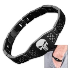 Punisher Skull Black Carbon Fiber Bracelet