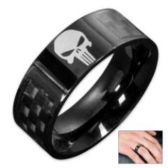 Punisher Skull Black Carbon Fiber Ring