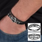 Black Leather Anchor Bracelet – Three-strand
