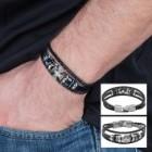 Black Leather Chopper Cross Bracelet