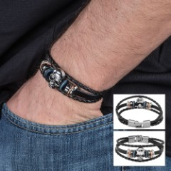Black Leather Skull Bracelet – Three-strand
