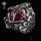 Ornate Red Jewel Cross Ring
