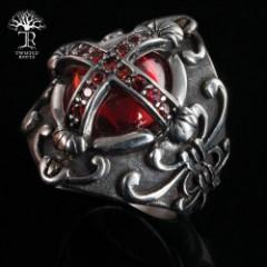 Ornate Red Jewel Cross Ring