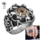 """Oculus"" - Hazel Eye Ringed by Claws  - Men's Stainless Steel Ring - Sizes 9-12"